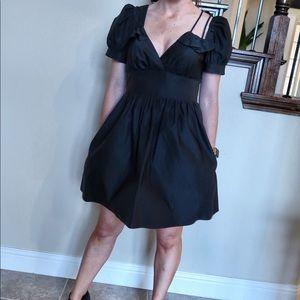 Black asymmetrical dress with POCKETS! Medium